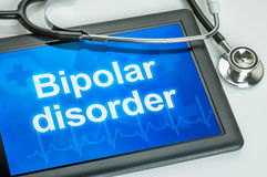 Tablette avec le trouble bipolaire de diagnostic photos stock