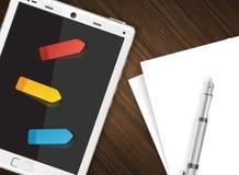 Tablette avec les autocollants colorés Images libres de droits
