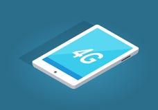 Tablette blanche moderne avec l'illustration de la fonction 4G Photographie stock