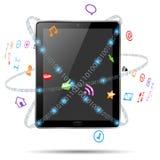 Tablette d'ordinateur avec des graphismes Photographie stock libre de droits