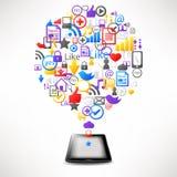 Tablette d'ordinateur avec des graphismes d'Internet en nuage Photos stock