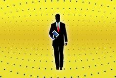Tablette d'ordinateur de fixation d'homme d'affaires Image libre de droits