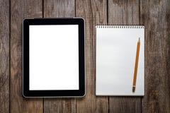 Tablette de carnet à dessins, de crayon et d'ordinateur de B image libre de droits