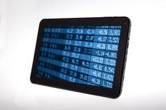 Tablette de Digital avec des données d'options d'achat d'actions Image libre de droits