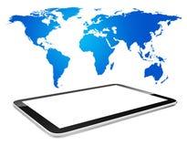Tablette de Digital et télécommunication mondiale Photographie stock libre de droits