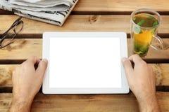 Tablette de Digitals avec l'écran blanc image stock