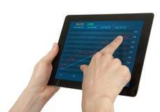 Tablette de Digitals avec les guillemet courants Photos libres de droits