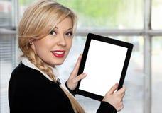 Tablette de fixation de femme d'affaires Image libre de droits