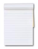 Tablette de papier blanc avec lignes bleues Photo stock