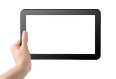 Tablette in der Hand lizenzfreie stockfotos