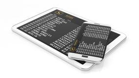Tablette et cellule avec l'information d'horaire Photographie stock libre de droits