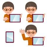 Tablette et femme supérieure illustration libre de droits