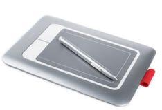 Tablette graphique avec Pen On White Background Photos libres de droits