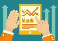 Tablette marchande en ligne d'application illustration stock