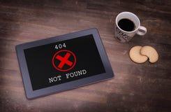 Tablette montrant une erreur, 404 Images stock