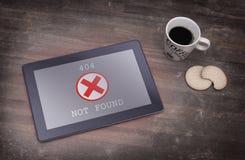 Tablette montrant une erreur, 404 Photo libre de droits