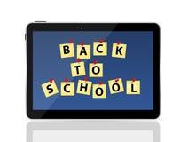 Tablette noire avec de nouveau au vecteur d'école Photo libre de droits