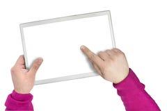 Tablette ou écran moderne d'écran tactile Images libres de droits