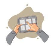 Tablette-PC in den Händen - vektorabbildung Stockbilder