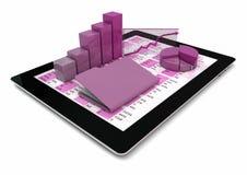 Tablette-PC, -graphiken und -faltblatt stock abbildung
