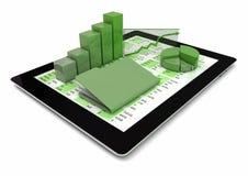 Tablette-PC, -graphiken und -faltblatt lizenzfreie abbildung