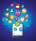 Tablette-PC mit hellen Sozialmediaikonen Stockbild