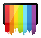 Tablette PC mit Regenbogenlack Stockfotografie