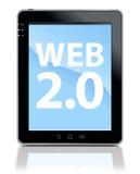 Tablette PC mit WEB 2.0 Typen Stockfotografie