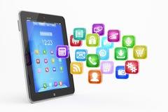 Tablette PC mit Wolke von Anwendungsikonen Stockbild