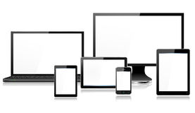 Tablette réaliste de Smartphone d'écran de moniteur d'ordinateur portable de dispositifs d'ordinateur nomade mini Photographie stock