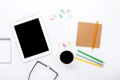 Tablette sur le lieu de travail de concepteur Photo libre de droits
