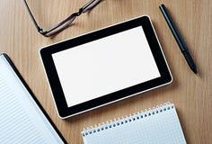 Tablette sur le Tableau en bois avec l'espace de copie Image libre de droits
