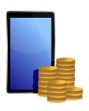 Tablette und Münzen um Abbildung Stockbild