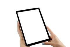 Tablette vide vide dans les mains de la fille D'isolement sur le blanc Écran blanc vide vide L'espace vide pour le texte Photographie stock