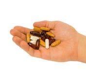 Tabletten auf der Palme Stockbild