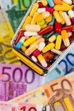 Tabletten, boodschappenwagentje, euro rekeningen Royalty-vrije Stock Afbeelding