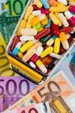Tabletten, boodschappenwagentje, euro rekeningen Royalty-vrije Stock Fotografie