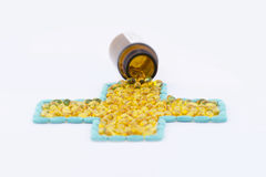 Tabletten en capsules en geneeskundefles Stock Afbeeldingen