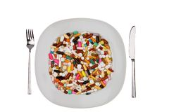 Tabletten en geneeskunde om ziekte te genezen Royalty-vrije Stock Fotografie
