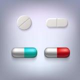 Tabletten en pillen vectorillustratie Royalty-vrije Stock Afbeeldingen