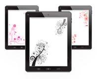 Tabletten met bloemen vectorontwerp Stock Afbeeldingen