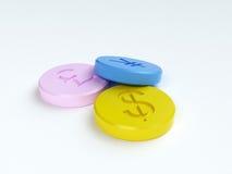 Tabletten met geldtekens royalty-vrije illustratie