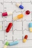 Tabletten op een ecg Stock Afbeelding