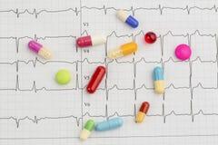 Tabletten op een ecg royalty-vrije stock foto