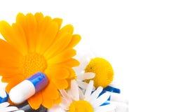 Tabletten und Blumen. stockfotografie