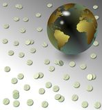 Tabletten und Erdekugel Lizenzfreies Stockfoto