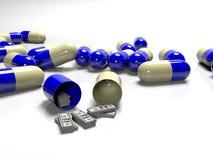 Tabletten van bankbiljetten, als betaald concept en dure geneeskunde, het 3D teruggeven Royalty-vrije Stock Foto