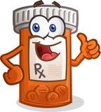 Tablettenfläschchen-lächelnde Zeichentrickfilm-Figur Stockbilder