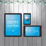 Tablettenillustratie voor gelukkig nieuw jaar 2016 Royalty-vrije Stock Afbeelding