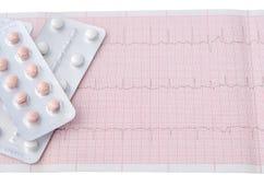 Tablettes dans la boursouflure sur le fond de l'électrocardiogramme de bande Photo libre de droits
